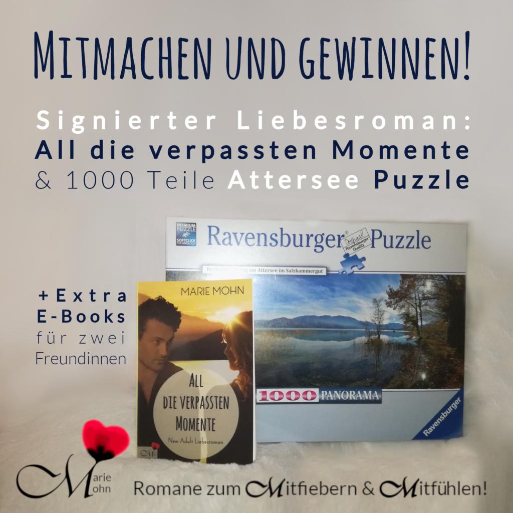 Gewinnspiel: Attersee-Puzzle von Ravensburger und Attersee-Roman All die verpassten Momente als Taschenbuch inklusvie zwei E-Books